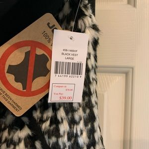 Jou Jou Jackets & Coats - NEW Faux Fur Black White Houndstooth Vest